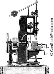 Slotting machine, profile view, vintage engraving - Slotting...