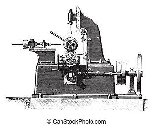 Machine slotting hubs, profile view, vintage engraving -...