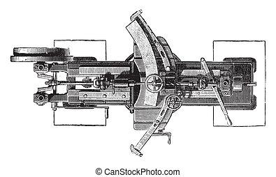 Machine slotting wheels, Plan, vintage engraving - Machine...