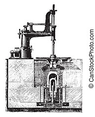Drill machine room of a hub and place the wheel box, vintage engraving.