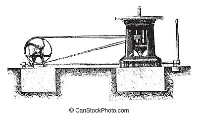 Spindle moulder Elevation, vintage engraving - Spindle...