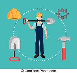 Construction industry and tools graphic design, vector...