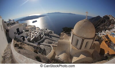 Church Cupolas and the Tower Bell from Santorini, Greece -...