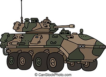 Camouflage armoured vehicle - Hand drawing of a camouflage...