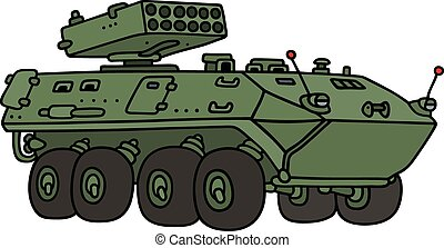 Green wheeled armoured vehicle - Hand drawing of a green...