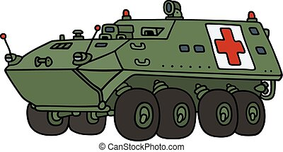 Military armoured ambulance - Hand drawing of a military...