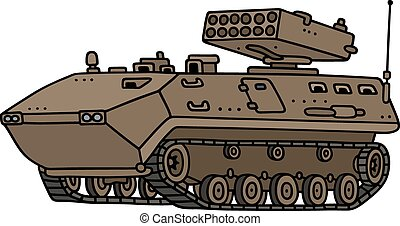 Track armoured vehicle - Hand drawing of a sand track...