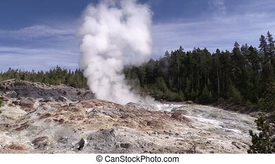 Steamboat Geyser, Yellowstone NP - steamboat geyser at...