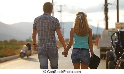 Couple enjoying the honeymoon in Santorini Greece - couple...