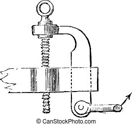Protected screw regulator for height, vintage engraving.