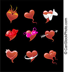 Sexy heart icon set - Vector illustration of sexy heart icon...