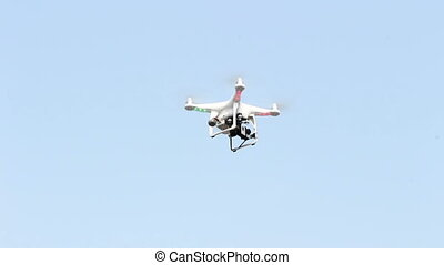 drone 4 blades are flying - drone rotor 4 camera and GPS are...