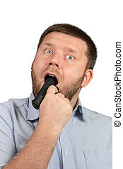 Man with gun in his mouth - Man in shirt with a beard and...