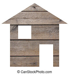 Wood house 2d model illustration isolated over white