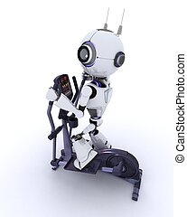 Robot at the gym on a cross trainer