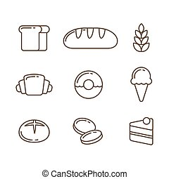 Bread and dessert line icons - Bakery line icon set: breads...