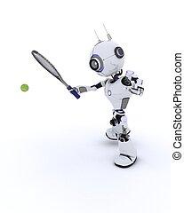 Robot playing tennis