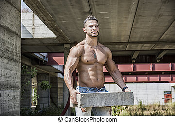 Sexy construction worker shirtless with muscular body - Sexy...