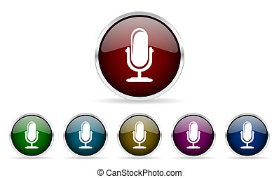 microphone colorful glossy circle web icons set