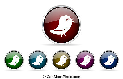 twitter colorful glossy circle web icons set