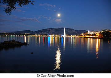 Geneva by Night - Geneva lake front with the city lights and...
