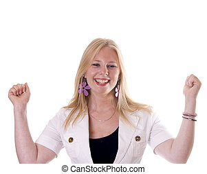 Yeah - Very happy girl expressing \'yeah\' with arms up.