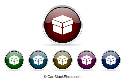 box colorful glossy circle web icons set