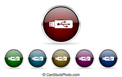 usb colorful glossy circle web icons set