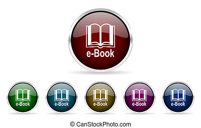 book colorful glossy circle web icons set