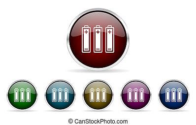 battery colorful glossy circle web icons set