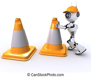 Robot with caution cones