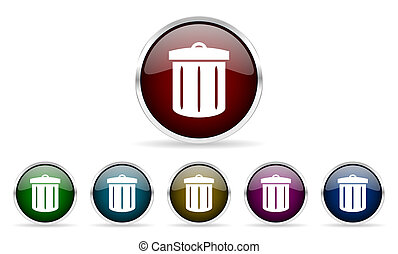 recycle colorful glossy circle web icons set