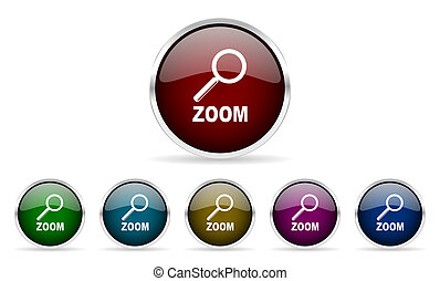 zoom colorful glossy circle web icons set