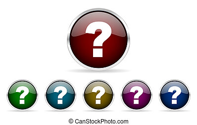 question mark colorful glossy circle web icons set