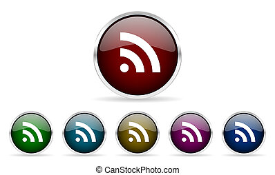 rss colorful glossy circle web icons set