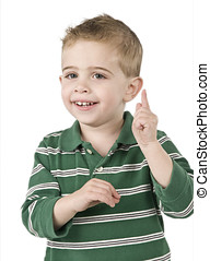 no hear this - little boy making a gesture as if say now...
