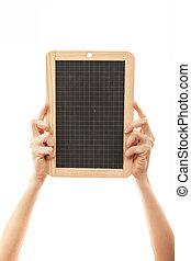 female hands holding a blackboard chalkboard