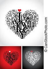 valentine typographic hearts