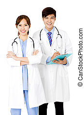 Confident male and female doctors standing together