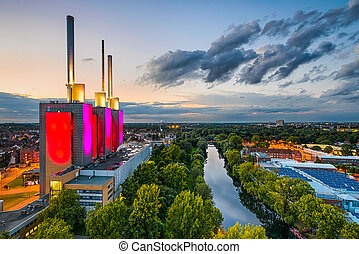Aerial view of Hannover, Germany - Aerial view of the Linden...