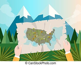 hand holding map america tracking hunting in forest mountain tree vector graphic illustration cartoon jungle sunset