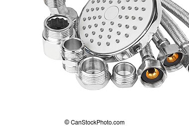 Plumbing hosepipe and showerhead, isolated on white...