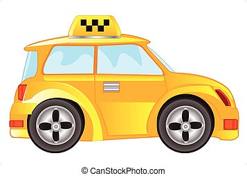 Car taxi on white background - Car taxi for transportation...