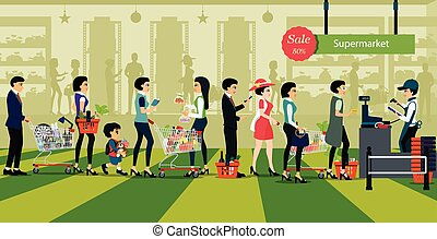 Purchase of supermarket - People line up to pay for shopping...