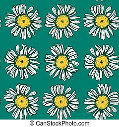 Beautiful vintage background with white daisies seamless...