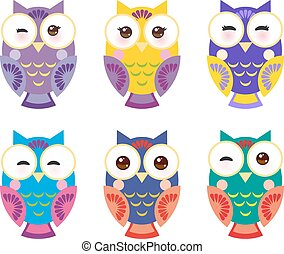 set bright colorful owls on white background. Vector
