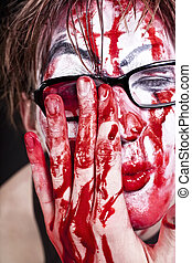 mime in glasses with blood - Portrait of mime in glasses...