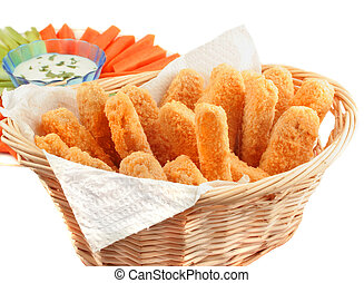 Golden chicken fingers - A basket of crispy chicken fingers...