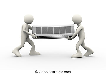 3d people carrying air conditioner - 3d illustration of...