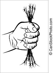 Fist and barbed wire - Vector illustration - Fist and barbed...